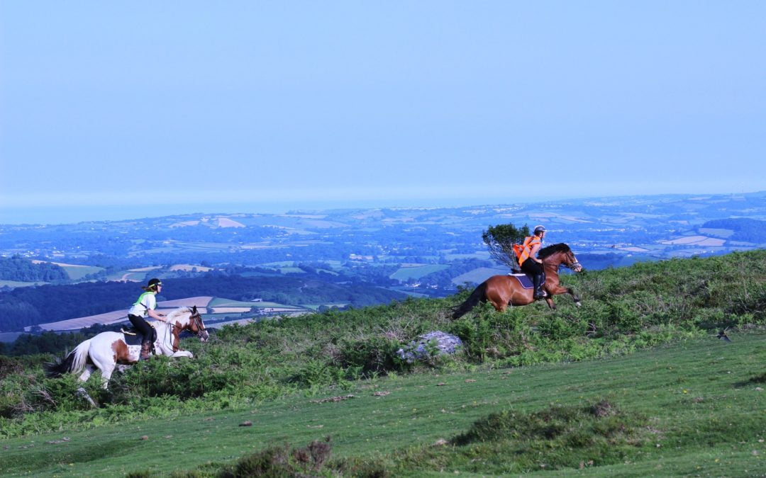 Image of horse-riders galloping across Dartmoor in Devon on a beautiful day with blue skies. Louise Jenner, The Dream Job Coach is bringing her Career Coaching and Business Coaching to Devon.