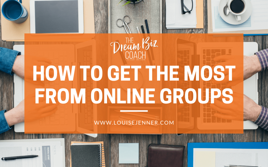 People working on a laptop with the words 'how to get the most from online groups' across the header